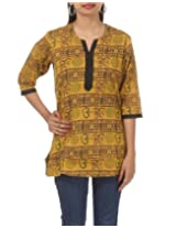 Rajrang Womens Cotton Brown And Yellow Medium Kurta