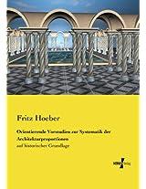 Orientierende Vorstudien zur Systematik der Architekturproportionen (German Edition)