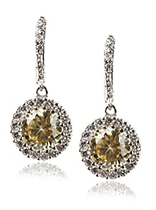 CZ by Kenneth Jay Lane Round Drop Earrings, Silver/Canary Yellow