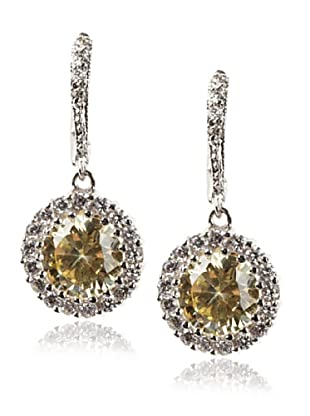 CZ By Kenneth Jay Lane Pave Round Drop Earrings, Silver, One Size