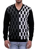 Lamode Black And White Check Lamode Sweater(LA00203XL-M_Black & White_X-Large)