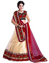 Manvaa Off White And Red Net Embroidered Lehenga