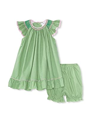 Bebe Mignon Baby Check Sundress with Bloomers (Green)