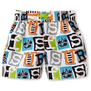 Ixtreme Baby Boys' Pirate Printed Swim Board Short, White, 24 Months