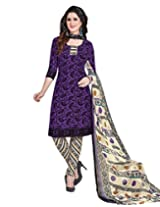Jevi Prints Deep Violet & Fawn Synthetic Crepe Dress Material with Dupatta