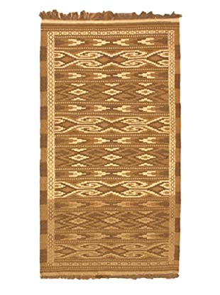 Hand Woven Shirvan Wool Kilim, Light Brown/Light Camel, 3' 5