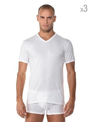 Anyma by Cotonella Pack 3 Camisetas Manga Corta Cuello Pico (Blanco)