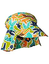 Flap Happy Baby Boys' Cotton Poplin Hat, Zoo Mania, Small