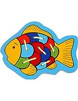 Little Genius Inset Tray Lacing Fish, Multi Color