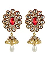 Gorgeous Bollywood Floral Design Kundan Made Fashion Earring For Women Gift Jewelry