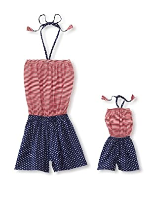 Me & Dolly by 4EverPrincess Girl's Leo Romper (Red/Blue)