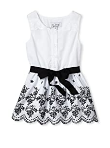 Journal Girl's Embroidered Button-Up Dress (Black & White)