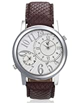 RICO SORDI Mens Brown Multifunctional Dual Time Leather Watch_RSMW_L4DT