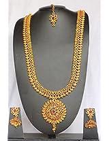 NAK's One Gram Gold Kemp Ruby Polki Temple Necklace Earring Mangtika Set