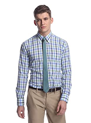 Oxxford Men's Sport Shirt with Button-Down Collar (Blue/Green Multi)