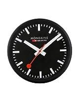 Mondaine Black Dial Black Frame Wall Clock