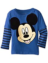 Disney Boys' Mickey Mouse Striped Skater-Sleeve T-Shirt