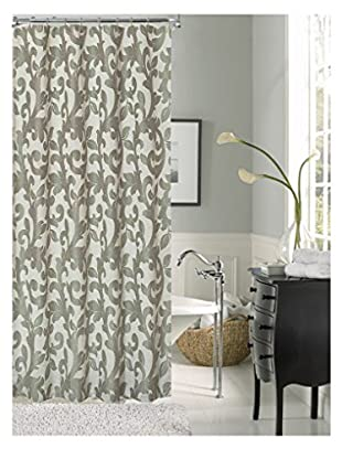Cay Trading Dainty Home Dahlia Fabric Shower Curtain, Silver
