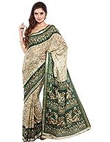 Parchayee Women's Raw Silk Saree (94349C, Beige, Free Size)
