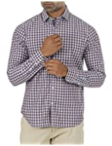 London Fog Men's Casual Shirt (8907174002101_Brown_Small)