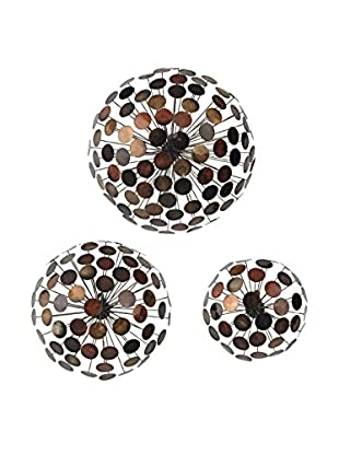 Artistic Set Of 3 Dandelion Wall Sculptures, High Gloss Copper