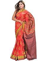 Exotic India Sharon-Rose Patan Patola Saree from Gujarat with Ikat Weave - Red