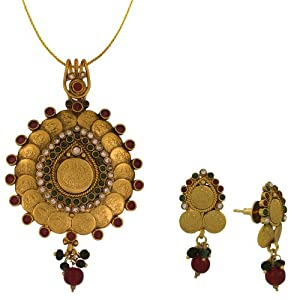 Spargz Antique Coin Temple Pendant Earring Set AIPS 019 [Jewellery]