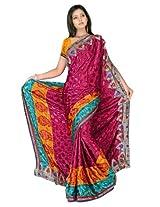 Sehgall Sarees Indian Professional Ethnic Poly Silk Crape colour magenta