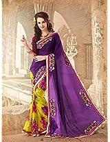 Sensational Purple & Yellow Georgette Bandhej Embroidered Saree - Georgette Sarees by Hitansh Fashion