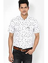 White Printed Slim Fit Casual Shirt Wrangler