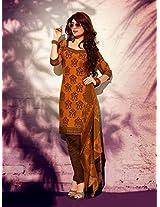Crepe Printed Golden Unstitched Churidar Suit - PLNS1015