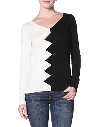 Kier & J Women's Zig Zag Sweater (Black/White)