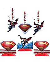 Superman Man of Steel Party Decorating Kit Including Centerpiece and Danglers