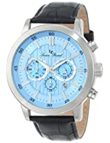Lucien Piccard Men's 12011-012 Monte Viso Chronograph Light Blue Textured Dial Black Leather Band Watch