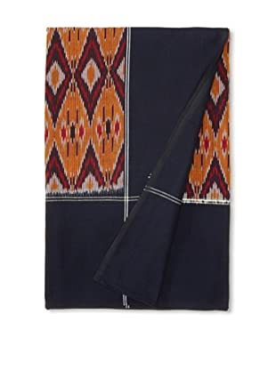 Nomadic Thread Society Single Ikat Bed Cover (Navy and Gold)