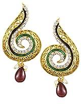 Karatcart 22K Goldplated Red Stone Dangle Earrings for Women.