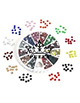 Pueen 3D Nail Art Wheel Of Round Brilliant 14 Cut 3Mm - 10Ss Resin Rhinestones Studs In 12 Different Colors For Cellphones And Nails Decorations