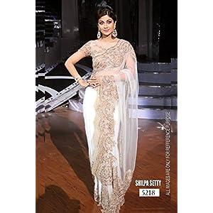 bollywood replica designer shilpa shetty white net saree with gold blouse & work .5218