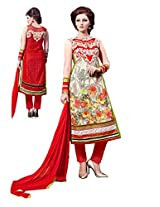 Women Pitch coloured Georgette Embroidered Dress Material