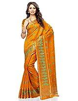 Meghdoot Artificial Tussar Silk Saree (JM318_MUSTARD Embroidered Mustard Sari)