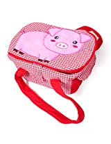 Fabric Organizer Storage Container Basket Bin Little Piggy (Red)