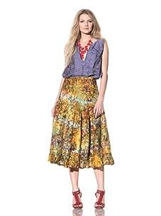 Gregory Parkinson Women's Tiered Silk Linen Skirt (Yellow)