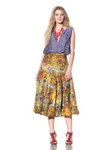 Gregory Parkinson Women's Tiered Silk Linen Skirt (Yellow)