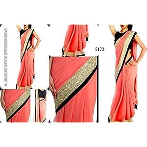 Veer Bollywood Design Georgette Saree - Pink