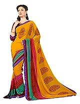 7 Colors Lifestyle Multi Coloured Faux Georgette Printed Saree