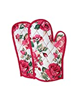 ShalinIndia Cotton Oven Mitts Printed Set of 2 Quilted Cooking Gloves,OG02-1428,Pink,8 x12 Inch