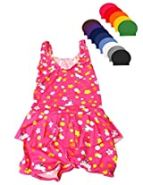 Pink Frock Swim wear with Cap for Girls age 2-4 years