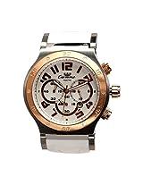 Men Luxury Casual Wrist Watch Citizen Movement White Dial Rose Gold Bezel Silicion Strap