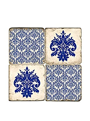 Studio Vertu Set of 4 Kentucky Damask Tumbled Marble Coasters with Stand