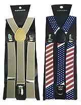 Atyourdoor Y- Back Suspenders for Men(Brownflagsus2)